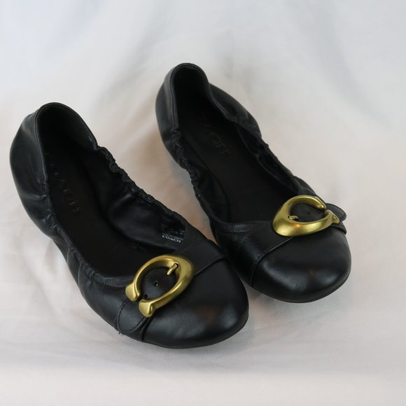 Coach Stanton Black Ballet Flats womens size 7
